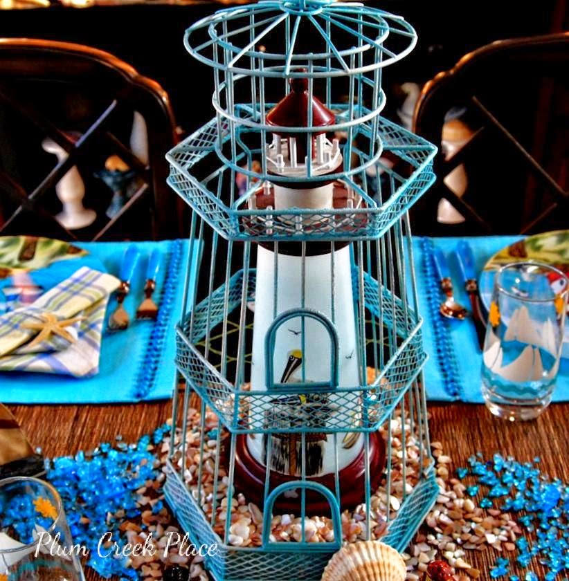 Lighthouses, tablescape, sailboats, nautical,  lighthouse tablescape.