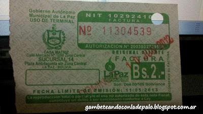 Ticket para uso de terminal - Gambeteandoconladepalo