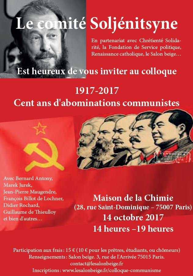14 octobre 2017: colloque 1917-2017: Cent ans d'abominations communistes