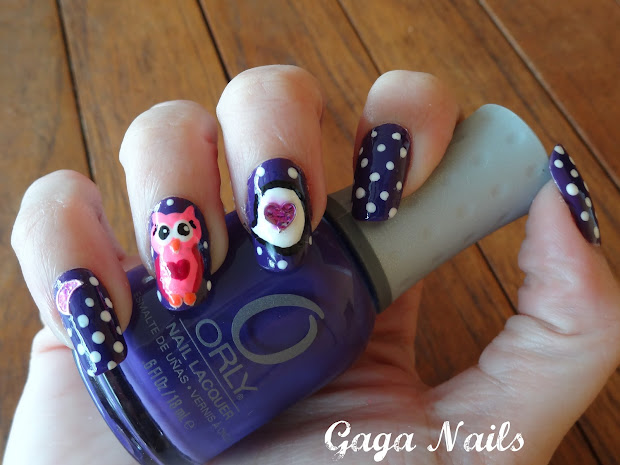 gaga nails owls in love nail art