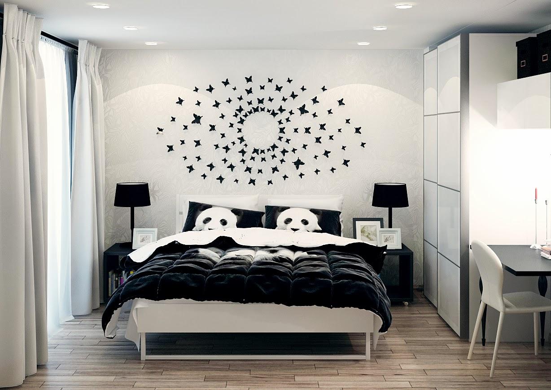 спальня черно белая фото