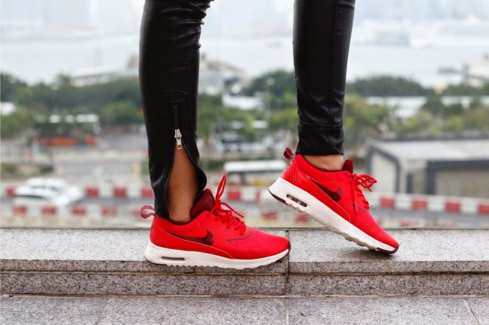 nike airmax sneaker,red holiday kicks,new kicks,blank denim leather pants, Asos hat, karean walker sunglasses, white tee, basics, shibuya109 blazer, chanel brooch, chanel bag, hermes bracelet, fashion blog, shallwesasa, travel, hongkong, ifc, new yorker, holiday outfit, holiday shopping, red sneaker