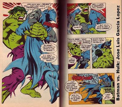 Hulk bear hugging Batman