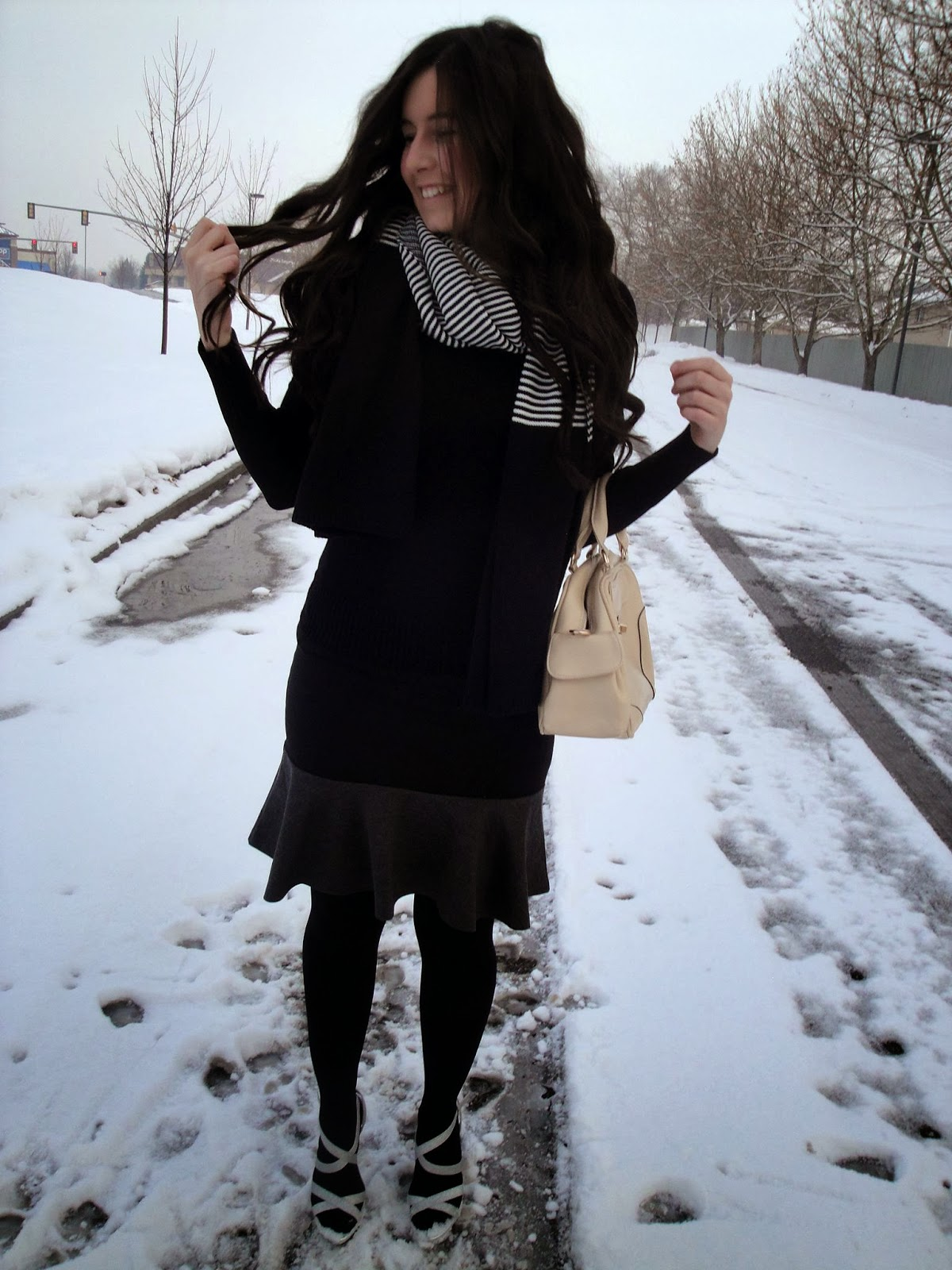 persun mall, scarf, black and white, black and grey skirt, fit and flare skirt, fit and flare, pretty, bellami hair extensions, bellami hair, bellami, black sweater, black and white, payless heels, heels, silver heels, persunmall, tights, long hair, curly hair, purse, purses,