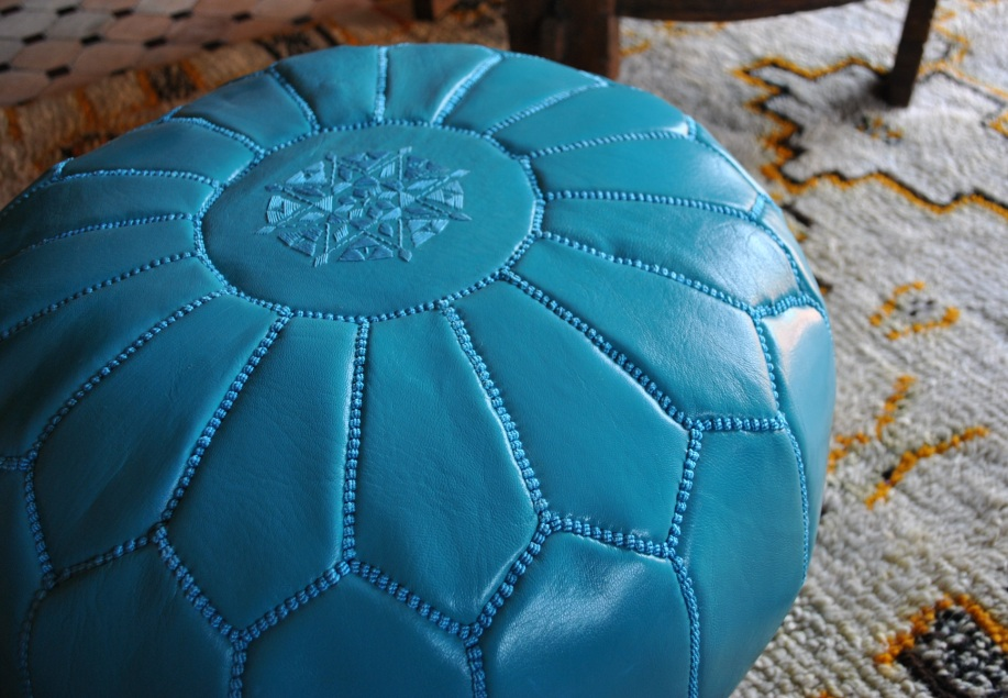 MoroCult Leather Pouffes Of Morocco Cool Turquoise Moroccan Pouf