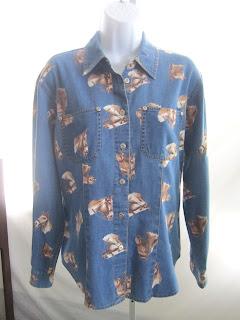 Sz M Liz Claiborne Lizwear Shirt Horses Equestrian Western Blue Cotton Denim Fun