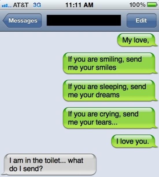 on the toilet, what do I send?