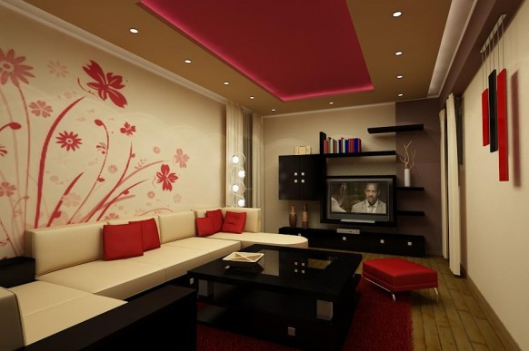 Nice Modern Tv Lounge Sofa. Wall Paint Flower Designs Ideas