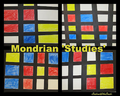 photo of: Mondrian, geometry, shapes, fine arts for children, fine motor bulletin boards