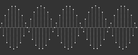 [Image: The same samples as in the above screenshot, but instead of connecting adjacent samples to each other, the samples are connected to the X axis using a dotted line.]