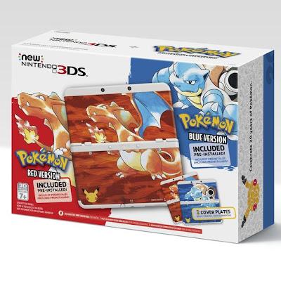 Un pack de New Nintendo 3DS con Pokémon Rojo y Pokémon Azul en Norteamérica
