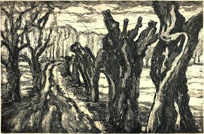 Manfred Haase: Kopfweiden auf den Oderwiesen, Strichätzung, Aquatinta, 2013