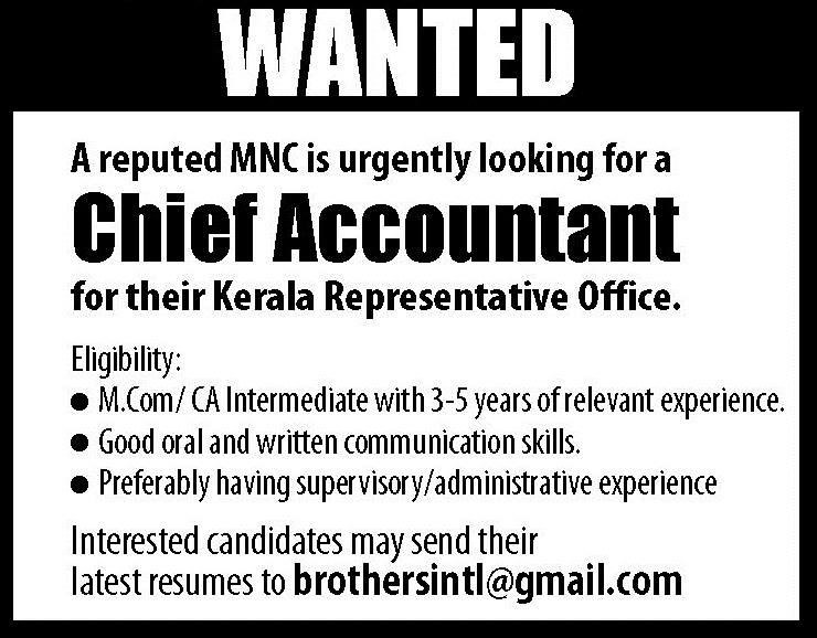 chief accountant job vacancies in kerala