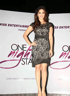 Sunny Leone Spotted in a lovely black dress Promoting her movie Comedy One Night Stand