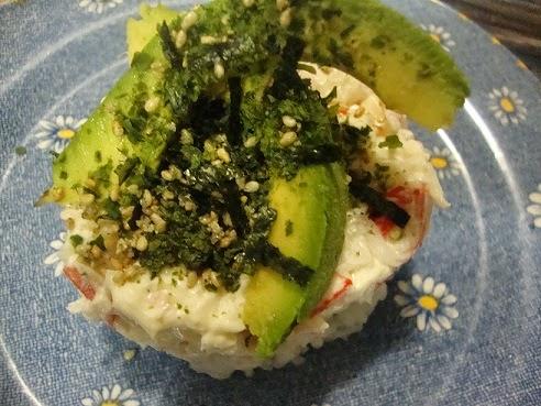 Ensalada de surimi, arroz y algas nori