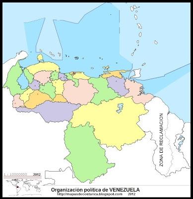 Mapa Político de VENEZUELA, (wikipedia)