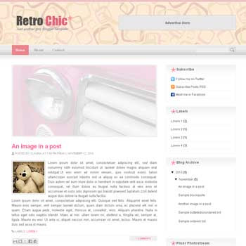 Retro Chic blogger template. image slider blogger template. 3 column footer template blog