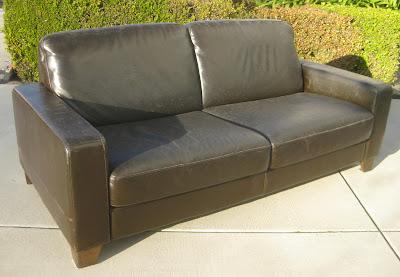 SOLD   Dark Brown Boxy Leather Sofa   $200