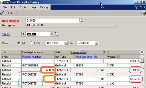 Inventory Receiving Transactions Why is my Receipt Split – Receiving Receipt