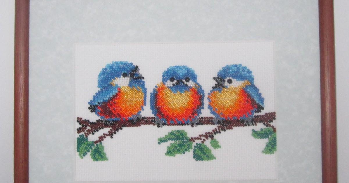Вышивка бисером птички в лесу 42