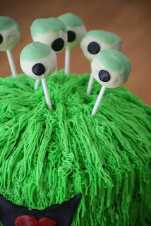 Close Up of Cake Pop Eyeballs for my Green Monster Cake