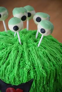 Close Up of Cake Pop Eyeballs for my Green Monster Cake