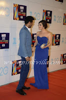 hot Sophie Chaudhary, Zee Cine Awards, 2013, blue sleeve strip dress, gown , sexy
