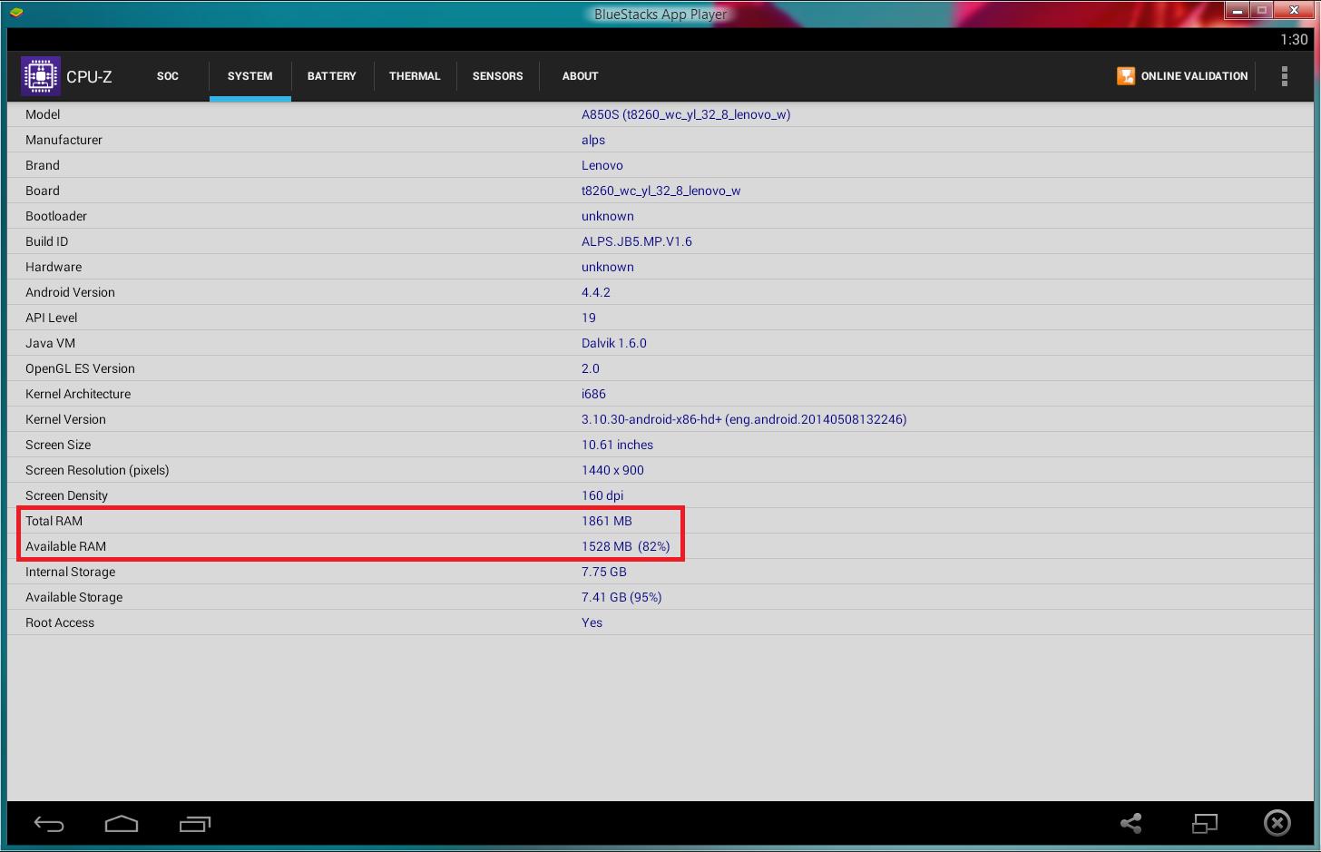 Deteksi RAM BlueStacks menggunakan CPU-Z