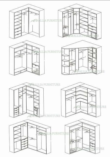 desain dari lemari pakaian sudut