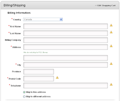 Billing and Shipping Information