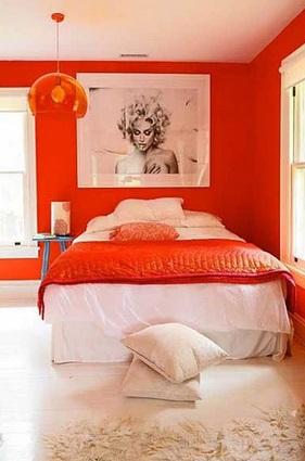 El color anaranjado en el dormitorio