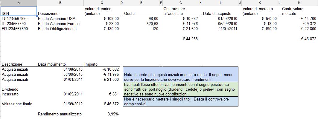 Esempio foglio di calcolo per valutazione portafoglio