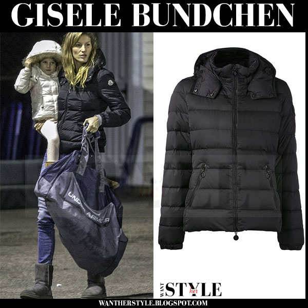 Gisele Bundchen in black puffer winter moncler bady jacket and grey Ugg boots winter outfit