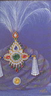A designed for a 20th century sarpich of emeralds, rubies, sapphires, and diamond set in gold, with twin pearl turras. Design conceived and drawn by ambaji shinde, for a royal client in central india,c.1948