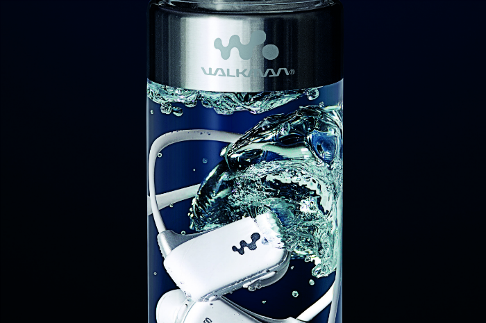 Walkman inside bottle
