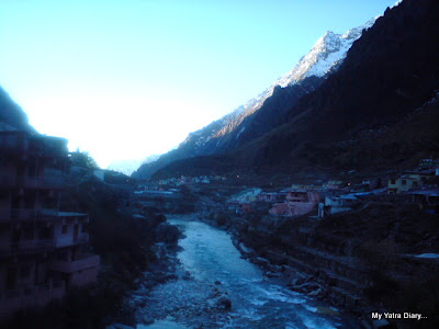 The view from the Alaknanda bridge in Badrinath in Uttarakhand