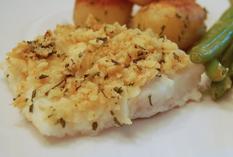 Butter And Herb Cracker Crusted Baked Cod Recipe — Dishmaps