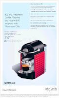 John Lewis - Buy Nespresso Coffee Machine and receive £40 to spend with Nespresso Club!