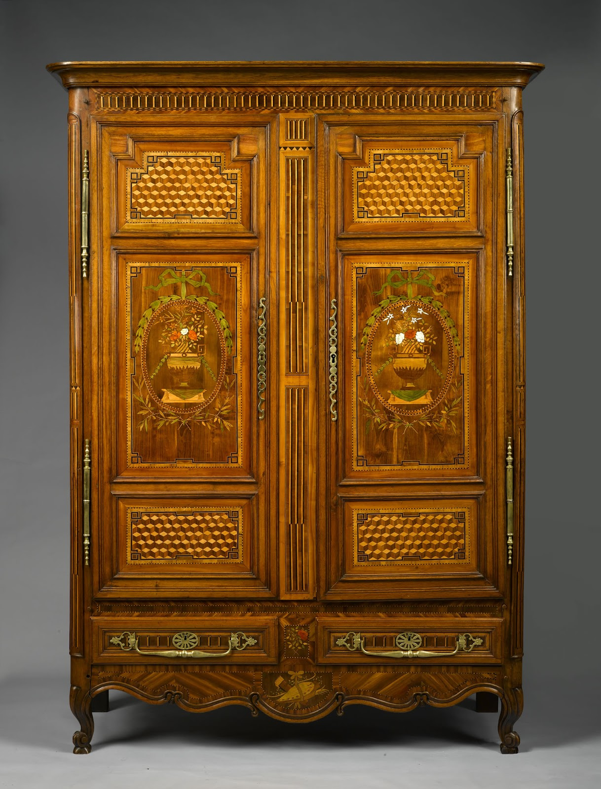 an exceptional and rare french late th century fruitwood armoire from lorraine with marquetry. Black Bedroom Furniture Sets. Home Design Ideas