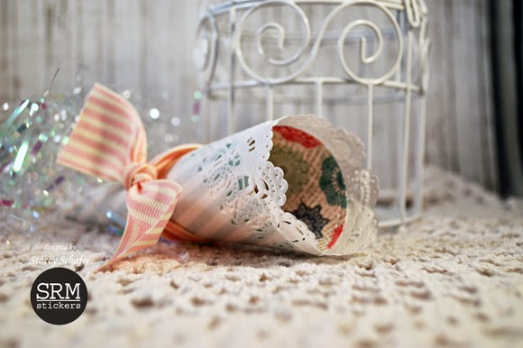SRM Stickers Blog - Doily Cone Party Favor by Stacey - #doilies #party #favors