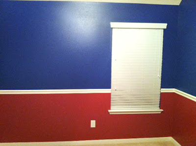 www.jarcarfam.blogspot.com - Evan's room Texas Rangers Paint colors