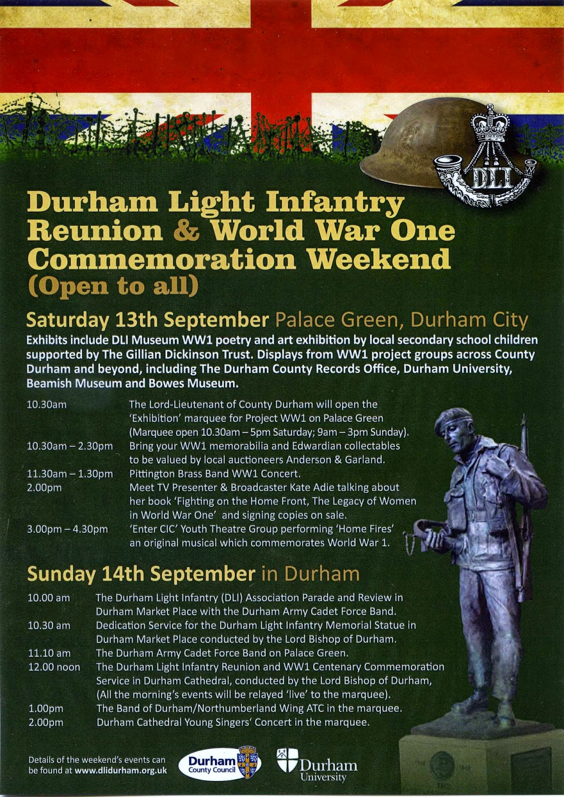 World war One Commemoration Weekend flyer