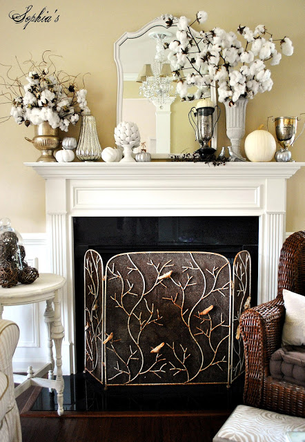 cotton fall mantel autumn white pumpkin
