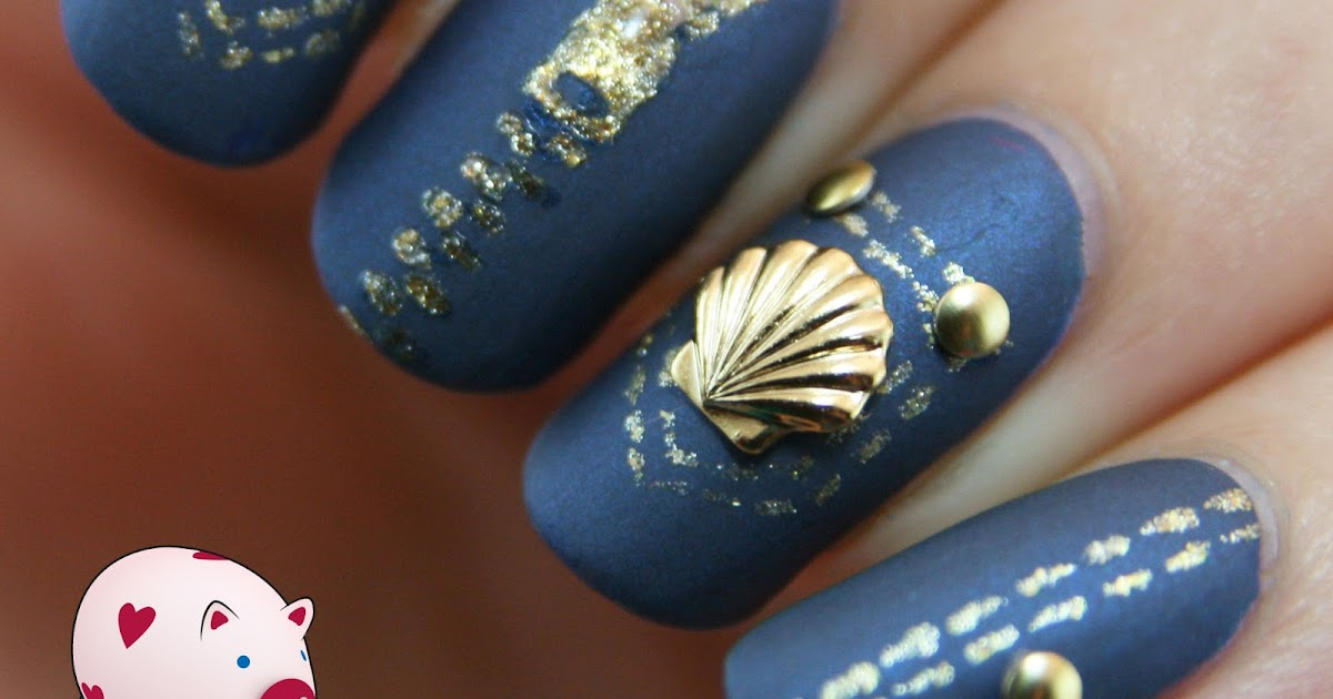 PiggieLuv: Jeans nails with studs and a nail charm