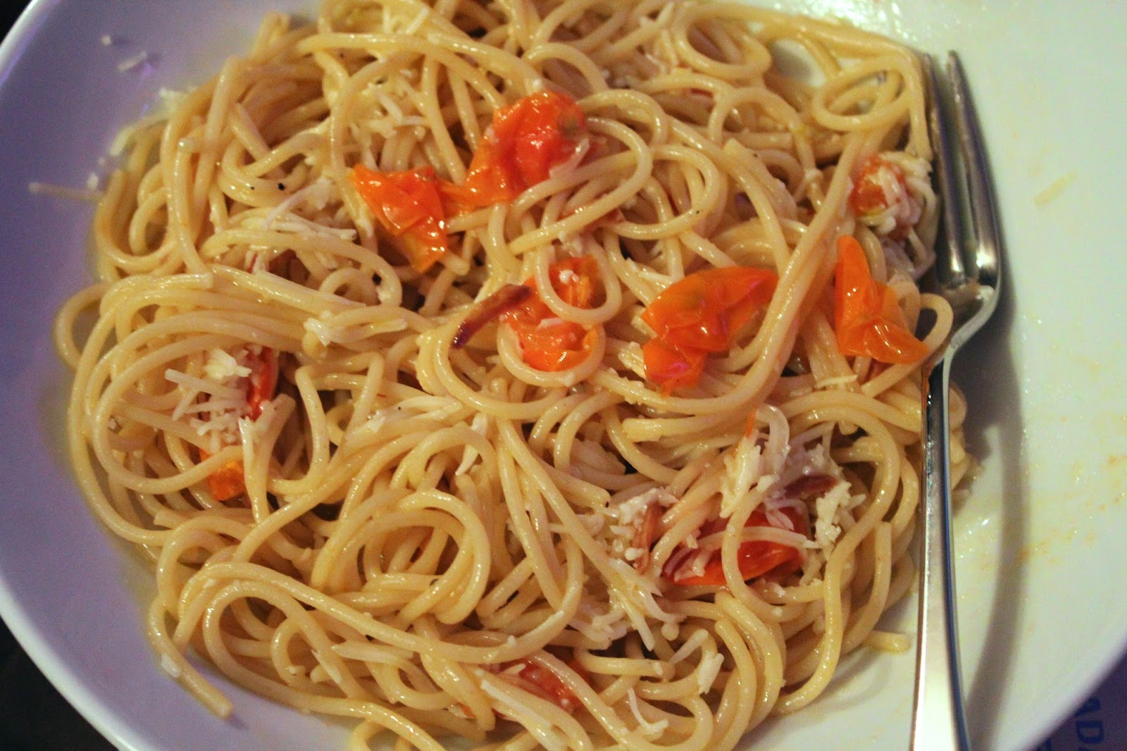 Pasta with Sun Gold tomatoes and garlic