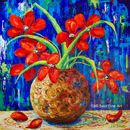 red flowers on canvas