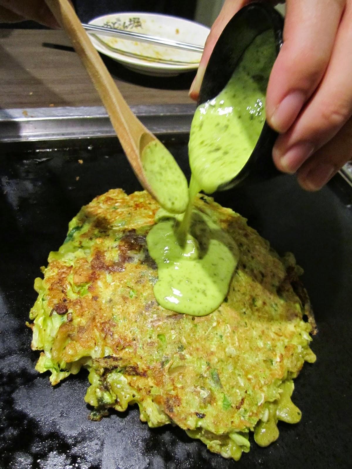 Dohtonbori Spring Kabuki Series Green Beef Tendon Egg Okonomiyaki 道頓堀十和田店 緑の牛スジ歌舞伎玉
