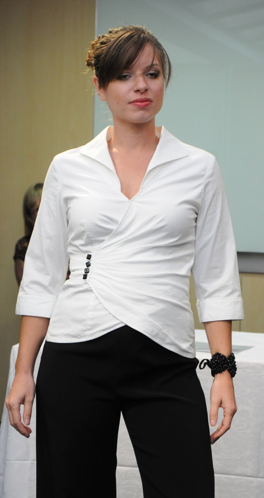 Strategic Business Wardrobes Show For Women In Dolce Fiction Blouse With Obi Off White Our Must Have Wrap Shirt