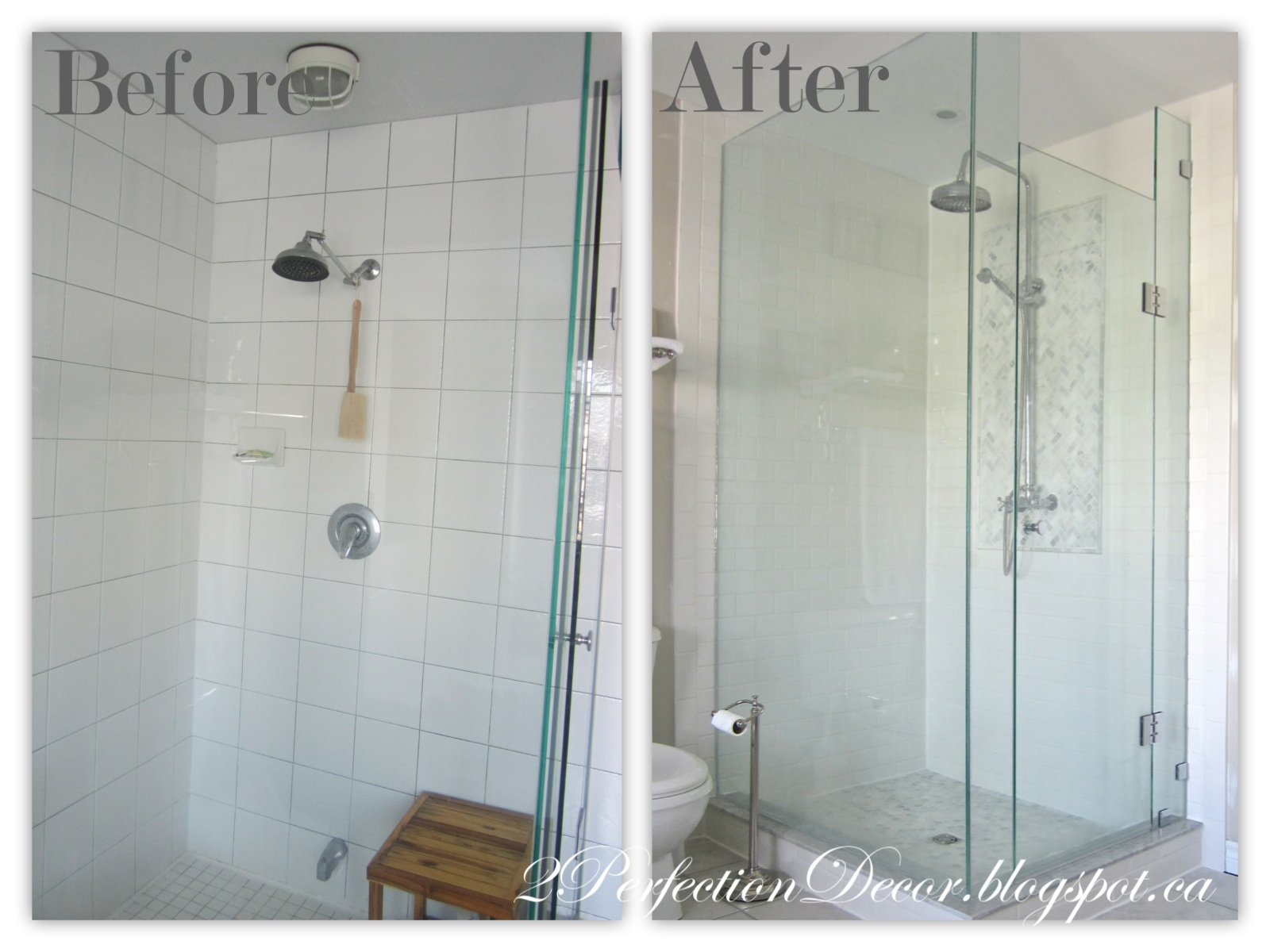 2perfection decor master ensuite shower reveal here is our shower when it was all gutted let me tell you what a nightmare on timing this was our son had just been born and he was approx 2 weeks dailygadgetfo Choice Image