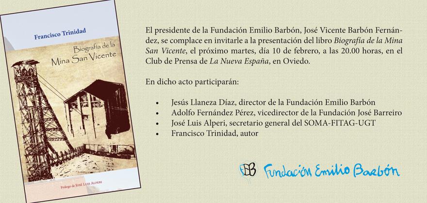 Invitación de la presentación del libro Biografía del Pozo San Vicente